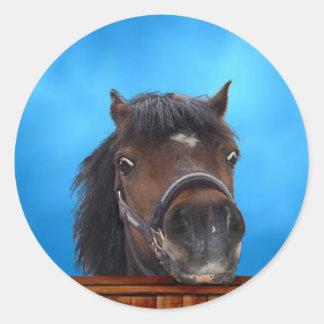 Cheeky pony, Customize me. Round Sticker