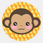Cheeky Saru Round Sticker