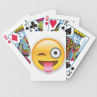 Cheeky Smiley emoji wink Bicycle Playing Cards