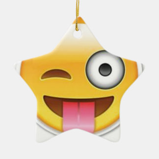 Cheeky Smiley emoji wink Ceramic Ornament