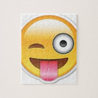 Cheeky Smiley emoji wink Jigsaw Puzzle