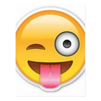 Cheeky Smiley emoji wink Postcard