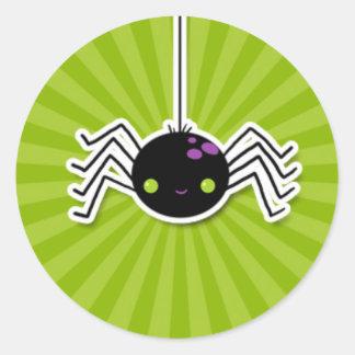 Cheeky Spider on Green Starburst.jpg Round Sticker