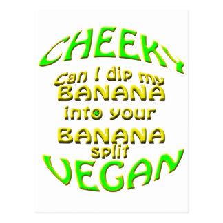cheeky vegan  can i dip my banana. postcard