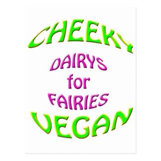cheeky vegan dairys for fairies. postcard
