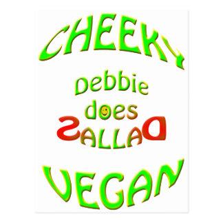 cheeky vegan , debbie does sallad postcard