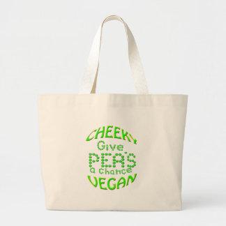 cheeky vegan give peas a chance jumbo tote bag
