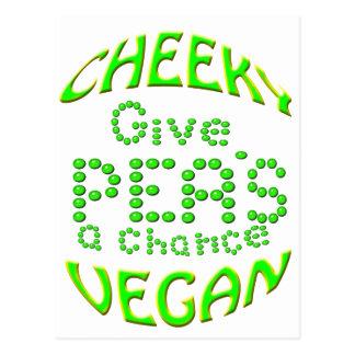 cheeky vegan give peas a chance postcard