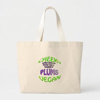 cheeky vegan nothing makes happier jumbo tote bag