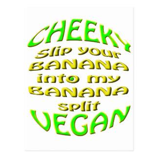 cheeky vegan  slip your banana. postcard