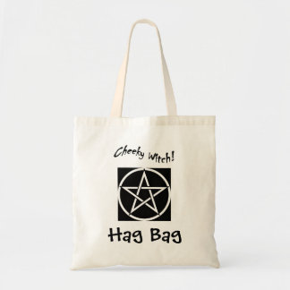 Cheeky Witch Hag Bag - Black & White Pentagram