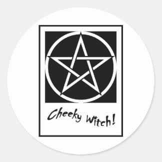 Cheeky Witch Pentagram Collection (Black & White) Round Sticker