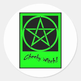 Cheeky Witch Pentagram Collection Green Round Sticker