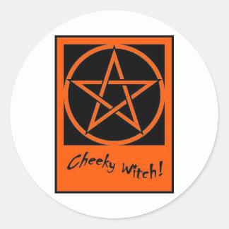 Cheeky Witch Pentagram Collection Orange Round Sticker