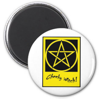 Cheeky Witch Pentagram Collection (Yellow) 6 Cm Round Magnet