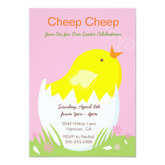 Cheep Cheep Yellow Chick Easter Party Invitation