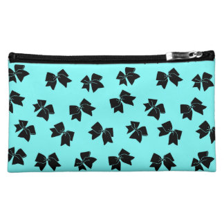 Cheer Bow Cosmetic Bag - Black on Blue