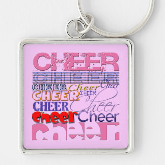 Cheer CHEERLEADER Cheer Silver-Colored Square Key Ring