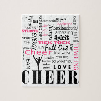 cheer cheerleading pink and black jigsaw puzzle