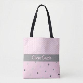 Cheer Coach Pink Quatrefoil Silver Polka Dots Tote Bag