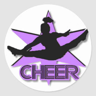 Cheer in purple classic round sticker