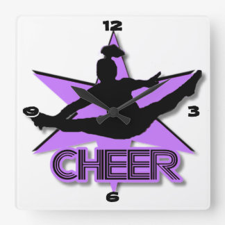 Cheer leader in purple square wall clock