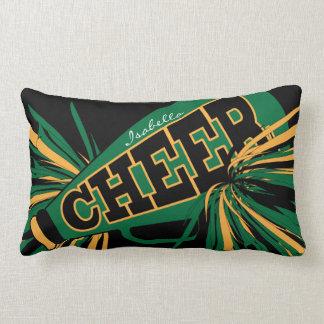 Cheer Megaphone - Green and Gold Cheerleader Lumbar Cushion