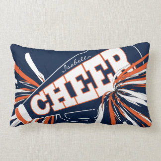 Cheer Megaphone - Orange, Blue & White Cheerleader Lumbar Cushion