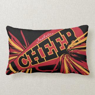 Cheer Megaphone - Red, Black and Gold Cheerleader Lumbar Cushion
