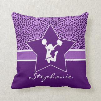 Cheer / Pom Cheetah Print with Monogram in Purple Cushion