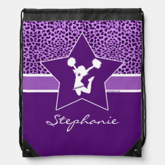 Cheer / Pom Cheetah Print with Monogram in Purple Drawstring Bag