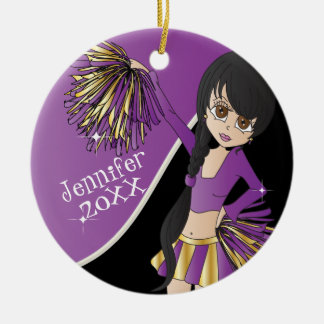 Cheer Purple Cheerleader Girl Ceramic Ornament