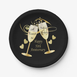Cheer to 50 Year Anniversary Paper Plate