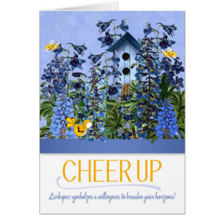 Cheer Up Blue Larkspur Garden with Yellow Canary Card