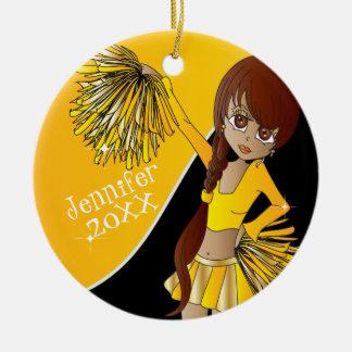 Cheer Yellow Cheerleader Girl Ceramic Ornament