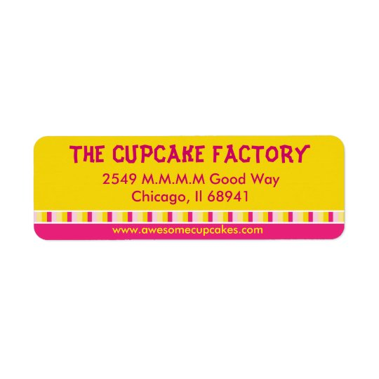 Cheerful and Bright Cupcake Factory Business Label Return Address Label