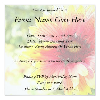 Cheerful Blanket Flower Bloom 13 Cm X 13 Cm Square Invitation Card