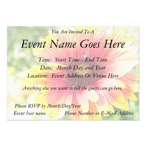 Cheerful Blanket Flower Bloom Personalized Announcements