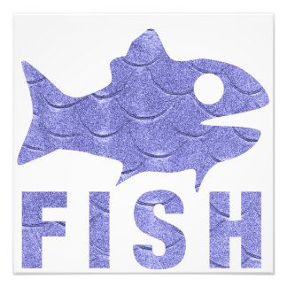 Cheerful blue fish photo art