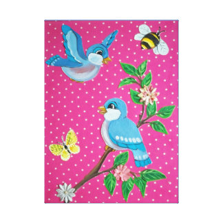 Cheerful Bluebird Vintage Look Baby, Kids Wall Art