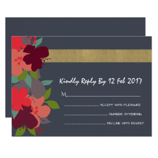 Cheerful Bright Floral Personalised RSVP Cards 13 Cm X 18 Cm Invitation Card