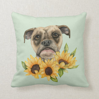 Cheerful   Bulldog Mix with Sunflowers Watercolor Cushion
