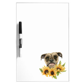 Cheerful | Bulldog Mix with Sunflowers Watercolor Dry Erase Board