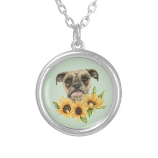 Cheerful | Bulldog Mix with Sunflowers Watercolor Silver Plated Necklace