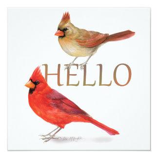 Cheerful Cardinals-Holiday Greeting 13 Cm X 13 Cm Square Invitation Card