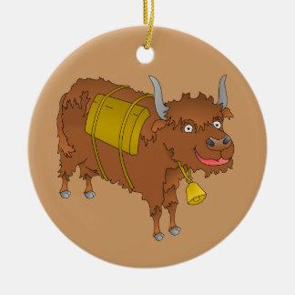 Cheerful cartoon yak round ceramic decoration