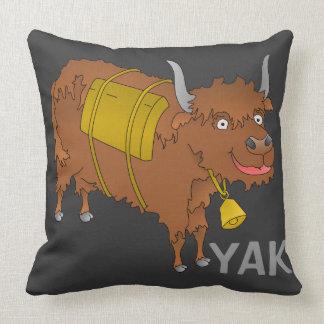 Cheerful cartoon yak throw pillow