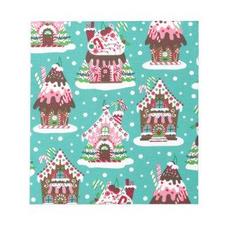 Cheerful Christmas gingerbread house Memo Pad