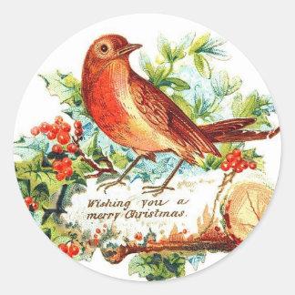 Cheerful Christmas Greetings Classic Round Sticker
