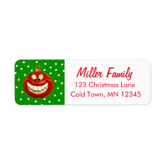 Cheerful Christmas Ornament Return Address Label